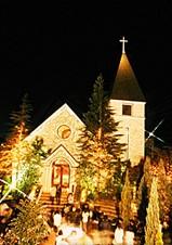 京都北山のノーザンチャーチ教会のクリスマスイルミネーション画像