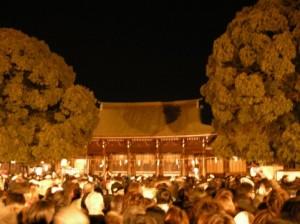 元旦の初詣の明治神宮