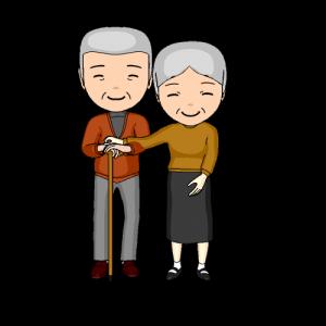 形容の日にプレゼントをもらい喜ぶ祖父母