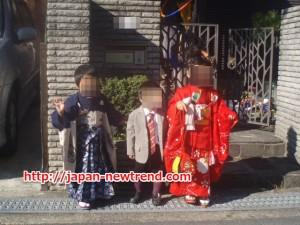 七五三で着物や袴を着ている子供の画像
