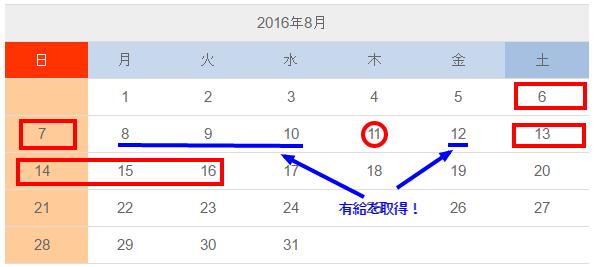 2016年8月のお盆休みの期間を示すカレンダー