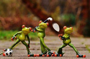 スポーツ系の習い事をイメージしたカエル