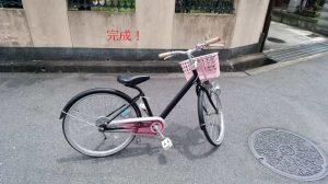 自分で塗装した子供用の自転車