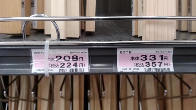 購入した木材の価格